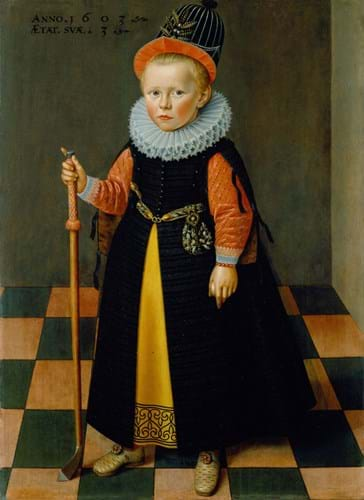 TheWeissGallery-Friesland School, 1603, A young boy aged 3 holding a kolf club and ball.jpg
