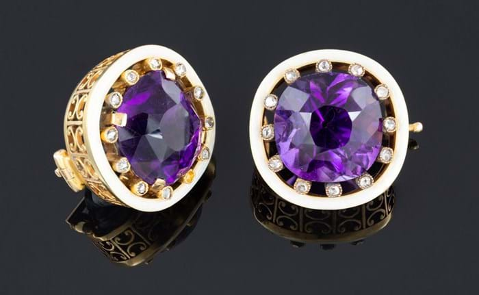 Fabergé amethyst and diamond lapel brooches