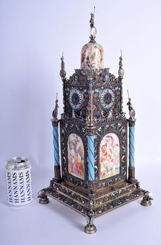 Silver and enamel clock