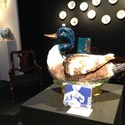 Faience duck-shaped tureen
