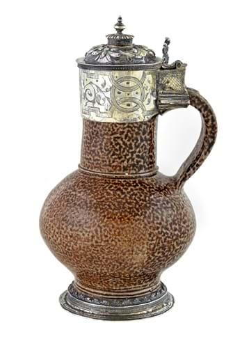 Elizabeth I silver-gilt stoneware jug