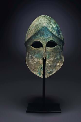 Greek bronze Corinthian helmet