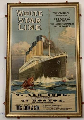 White Star Line Olympic and Titanic poster