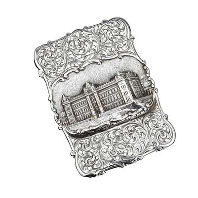 Silver castle-top card case made by Nathaniel Mills