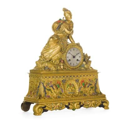 A French chinoiserie gilt-bronze and polychrome decorated mantel clock, circa 1830, est.£5,000-8,000.jpg