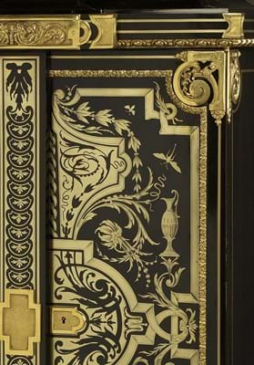 A Louis XIV style gilt-bronze mounted, ebony and brass boulle marquetry small armoire, by Joseph Cremer, circa 1860, est. £60,000-90,000 (Detail).jpg