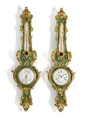 A Louis XV-style gilt-mounted 'corne verte' wall clock and matching barometer, circa 1880 £15,000-25,000.jpg