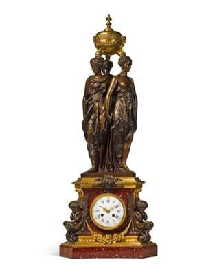 A patinated bronze and griotte marble 'Three Graces' clock, by Victor Paillard, after the model By Germain Pilon, French, circa 1855, est.£5,000-8,000 (ii).jpg