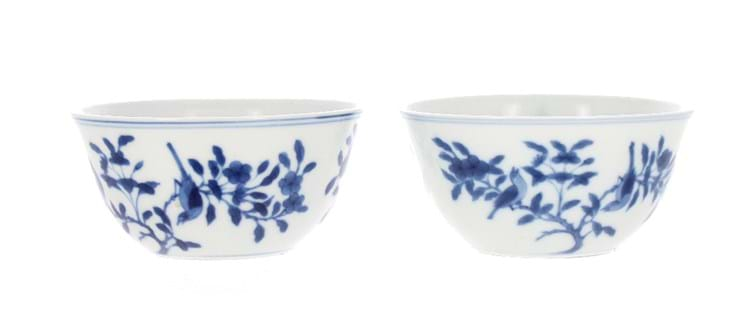Blue and white 'bird and tree' bowls