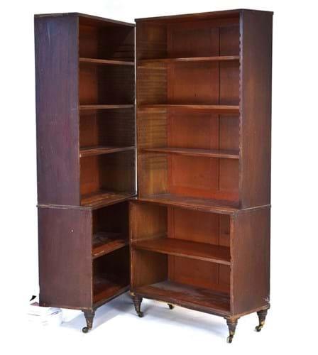 Mahogany waterfall-style bookcases