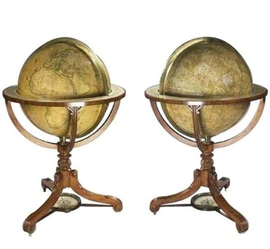 A pair of Newton globes