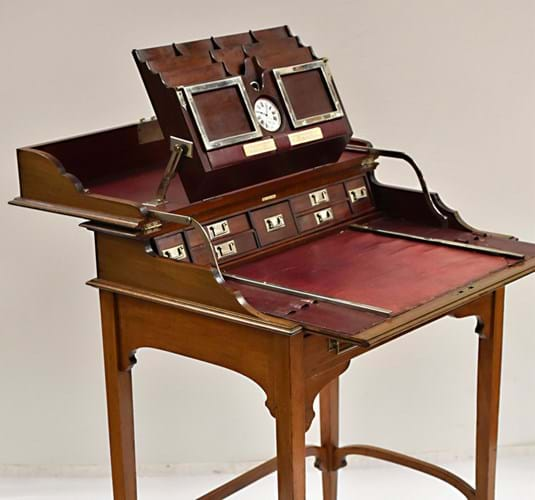 Edwardian mahogany campaign or travel desk