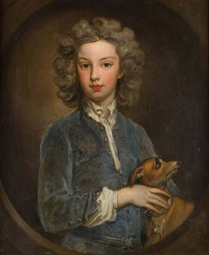 Portrait of a boy and whippet