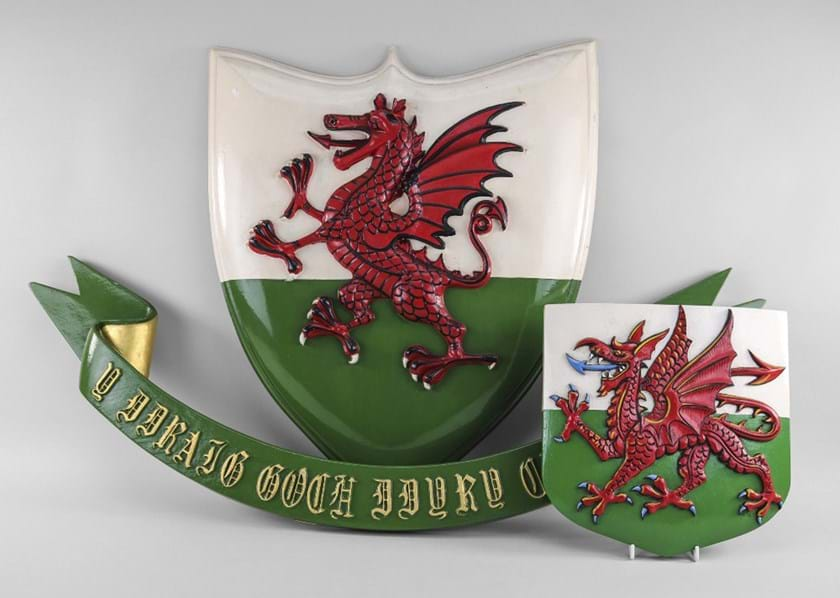 Painted wooden Welsh dragon plaques