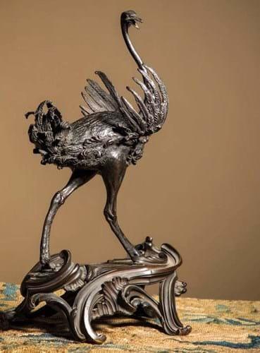 Bronze model of an ostrich