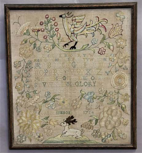 Queen Anne or George I period needlework sampler