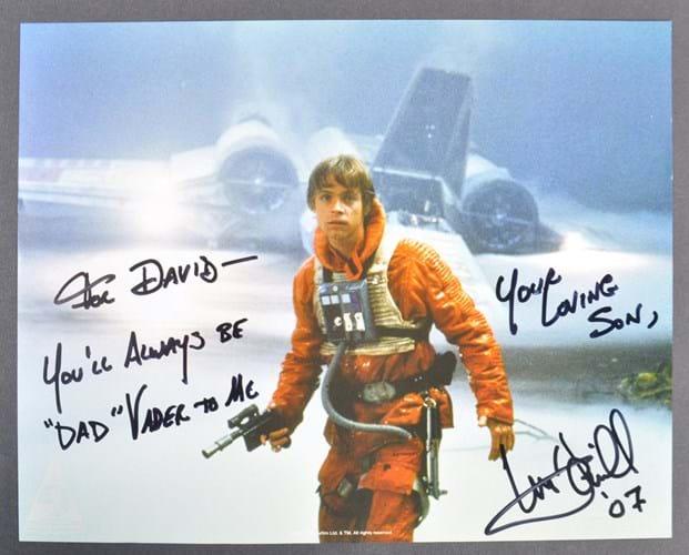 Signed Luke Skywalker photo