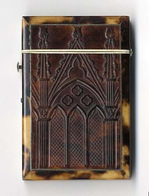 Victorian pressed tortoiseshell card case