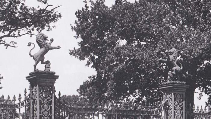 Rampant lions on gateposts