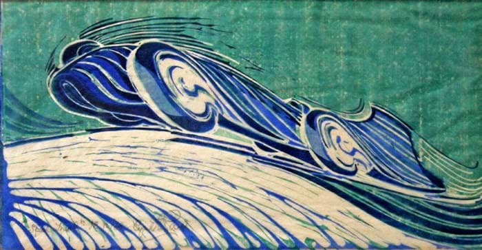Speed Trial by Cyril Power - linocut from c.1932