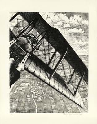 Lithograph by CRW Nevinson from the 'Building Aircraft' series