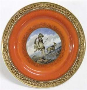 Prattware plate printed with The Faithful Shepherd