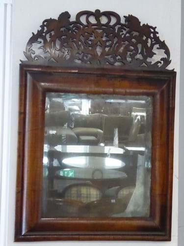 William and Mary walnut cushion framed mirror