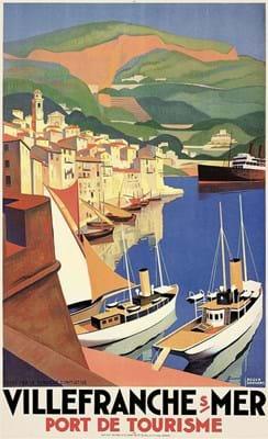 Poster Villefranche-sur-Mer designed by Roger Broders