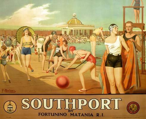 Vintage poster Southport Lido Fortunino Matania