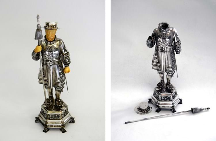 Silver figure of a beefeater by Berthold Muller