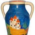 Clarice Cliff vase in Blue Lucerne pattern