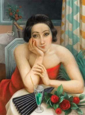La jejune femme pensive aux roses rouges by Jean Metzinger