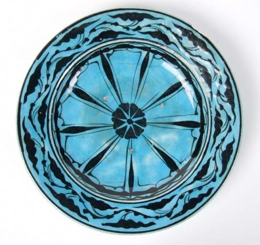 Turquoise-glazed dish